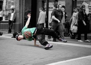 add spunk to your English break dancing in street