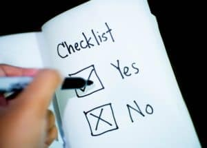 English vocabulary to make decisions checklist of yes or no with black pen